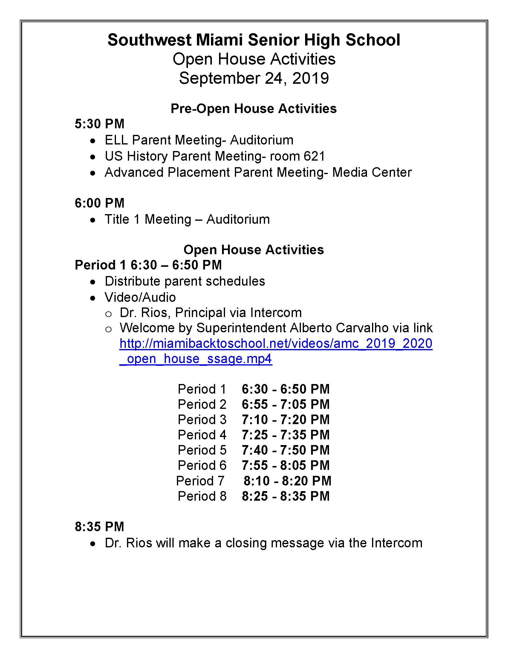 Pre-Open House Activities