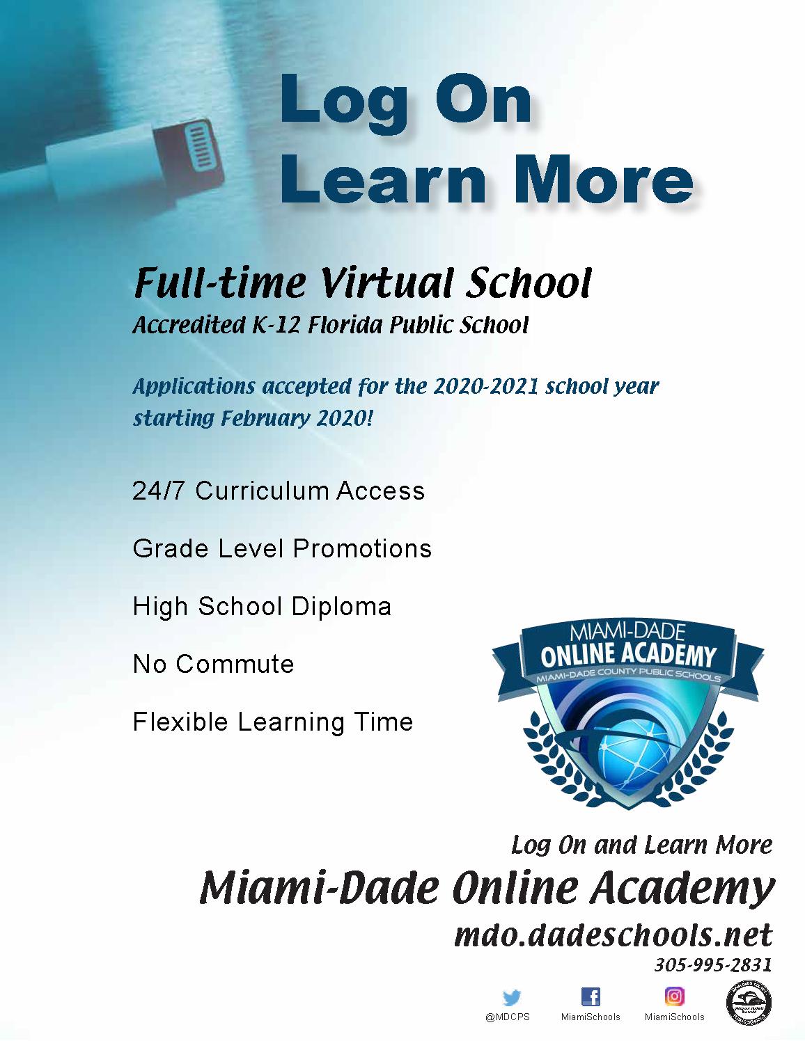 Mdcps Calendar 2022.2020 2021 Open Enrollment Period For District S Full Time Virtual School Southwest Miami Senior High