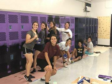 Girls basketball team converting locker room